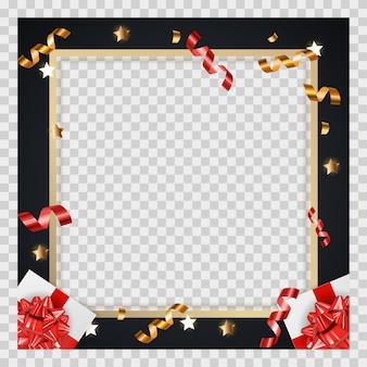 Streszczenie tło złote błyszczące ramki z prezentami i świecidełko
