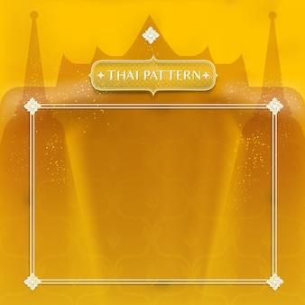 Streszczenie tradycyjne tajskie tło. ozdobiony złotą świątynią i stupą