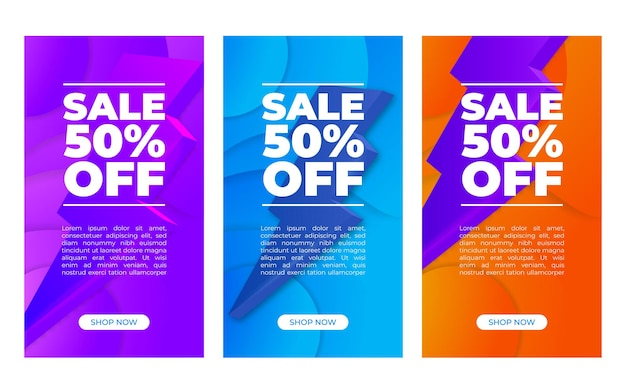 Streszczenie transparent wektor pionowy zestaw z procentami sprzedaży