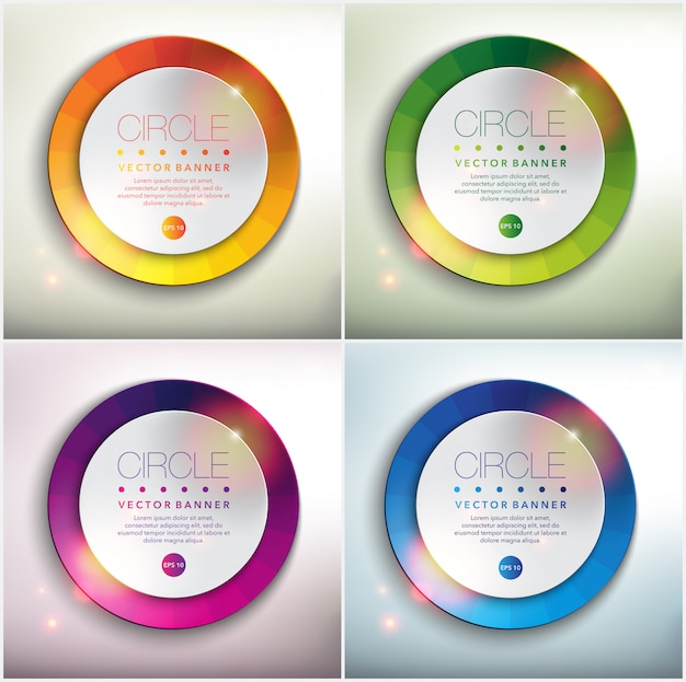 Streszczenie transparent zestaw 4. okrągłe papierowe koła z kolorowych. pojedynczo na białym panelu.