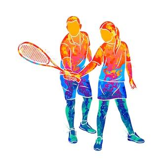 Streszczenie trener pomaga młodej kobiecie wykonać ćwiczenie z rakietą na prawej ręce w squasha z pluskiem akwareli. trening gry w squasha. ilustracja farb