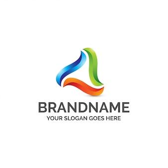 Streszczenie trójkąt kolorowe logo