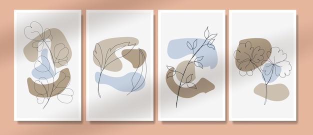 Streszczenie tropikalne liście plakat okładka tło zestaw abstrakcyjne tło abstrakcyjne liście tapeta