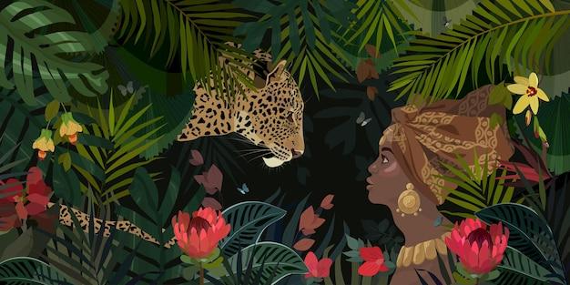 Streszczenie tropikalny afrykański ilustracja z piękną dziewczyną i lampartem w dżungli. tropikalne kwiaty i liście.