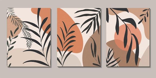 Streszczenie tropikalnych liści plakat okładka zestaw tła. abstrakcyjne tło. streszczenie tapeta liści