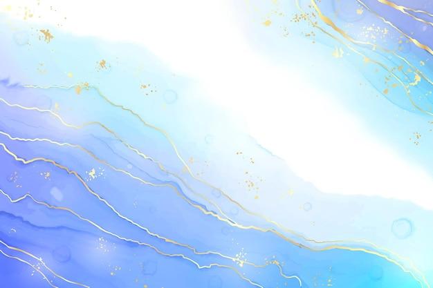 Streszczenie turkusowy i turkusowy niebieski płynny marmurkowy tło akwarela z wzorem fal i złotymi pęknięciami