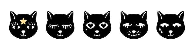 Streszczenie twarze kotów. magiczny czarny kotek, okultystyczne zwierzęta domowe z różnorodnymi oczami wektor zestaw