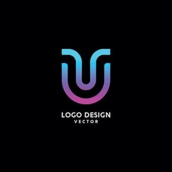 Streszczenie u list logo design wektor
