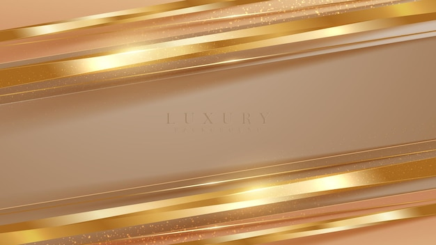 Streszczenie ukośne złote linie z brązowym luksusowym tłem