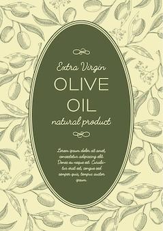 Streszczenie vintage zielony plakat z tekstem w owalnej ramie i gałęzi drzew oliwnych