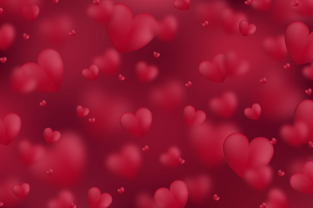 Streszczenie walentynki projekt bez szwu 3d szablonu dekoracyjne czerwone serca.