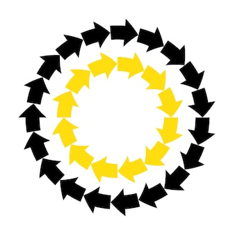Streszczenie wektor czarne żółte strzałki okrągłe ramki.