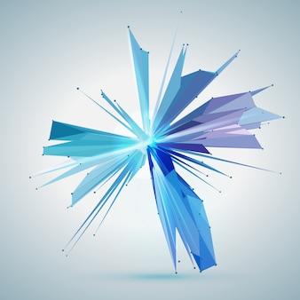 Streszczenie wektor gwiazda siatki. chaotycznie połączone punkty i wielokąty latające w przestrzeni. latające odłamki. futurystyczna karta stylu technologii. linie, punkty, okręgi i płaszczyzny. futurystyczny design.