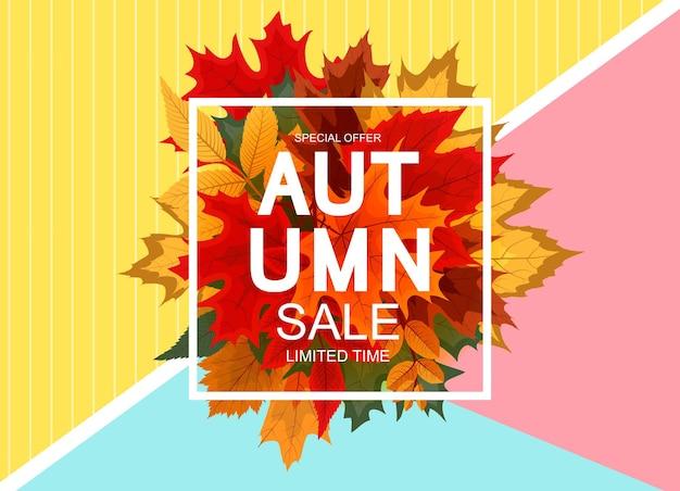 Streszczenie wektor ilustracja jesień sprzedaż tło z spadającymi jesiennymi liśćmi