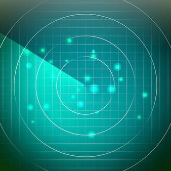 Streszczenie wektor radarowy. ekran nad kwadratowymi liniami siatki. tło interfejsu użytkownika hud.