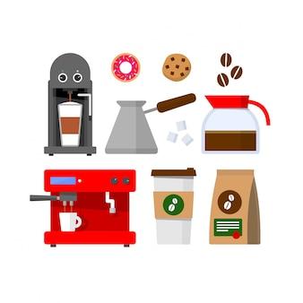 Streszczenie wektor zestaw kawy i piekarni kolorowe płaska konstrukcja