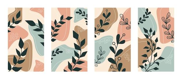 Streszczenie wektor zestaw z roślin i gałęzi. nowoczesny styl boho, minimalizm. do projektowania tapety, opowiadania, okładki, plakatu.