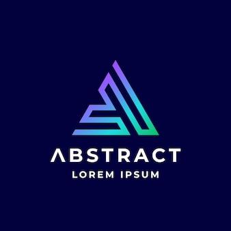 Streszczenie wektor znak godło lub logo szablon kolorowy gradient geometria labirynt piramidy litera a l...