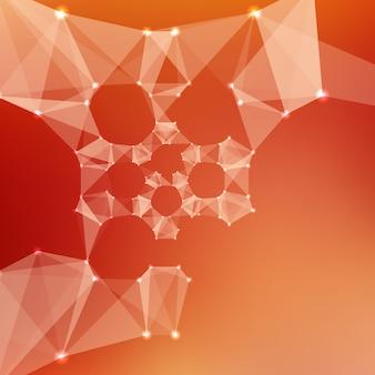 Streszczenie wektora czerwone t? o oczek. chaotycznie połączone punkty i wielokąty latające w kosmosie. latające gruzy. futurystyczny styl technologii karty. linie, punkty, okręgi i płaszczyzny. futurystyczny wygląd.