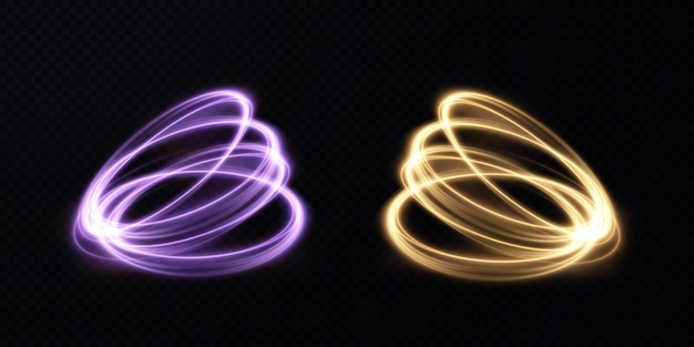 Streszczenie wektorowe linie świetlne wirujące w spiralę
