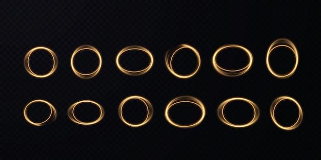 Streszczenie wektorowy efekt świetlny złotej linii światła