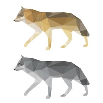 Streszczenie wielokątne geometryczne trójkąt wilk zestaw na białym tle na białym tle do wykorzystania w projektowaniu dla karty, zaproszenia, plakatu, banera, afisz lub okładki billboardu