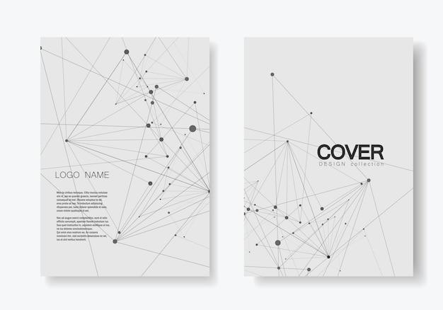 Streszczenie wielokątne geometryczny kształt ze stylem struktury cząsteczki. broszura obejmuje linie i kropki