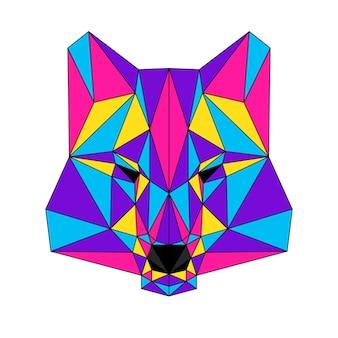 Streszczenie wielokątne portret wilka. nowoczesna głowa wilka low poly na białym tle na kartę, plakat kliniki weterynaryjnej, zaproszenie na nowoczesną imprezę, książkę, plakat, nadruk torby, koszulkę itp.