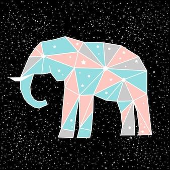 Streszczenie wielokątne słoń na białym na czarnym tle. widok z boku. niebieski, różowy i szary słoń pomalowany w wyimaginowanych kolorach do wykorzystania w projektowaniu karty, zaproszenia, plakatu, afiszu, banera, t-shirt