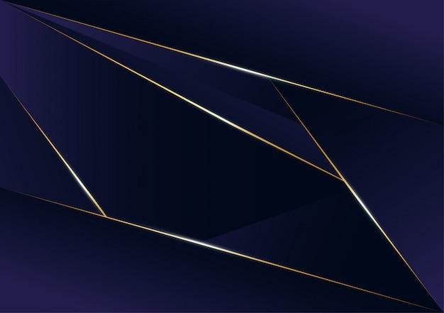 Streszczenie wielokątne wzór luksusowa złota linia z ciemno niebieski szablon