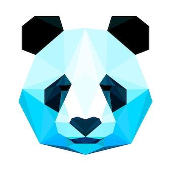 Streszczenie wielokątny trójkąt geometryczny jasny portret panda na białym tle do wykorzystania w projektowaniu