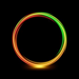 Streszczenie wielokolorowe koło linii światła