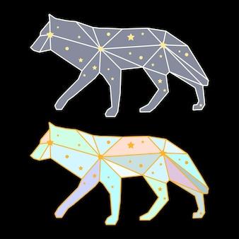 Streszczenie wilk wielokątne na białym na czarnym tle. widok z boku. futurystyczna okładka pomalowana w wyimaginowanych kolorach do wykorzystania w projektowaniu karty, zaproszenia, plakatu, afiszu, banera