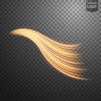 Streszczenie wirowa złota linia światła z