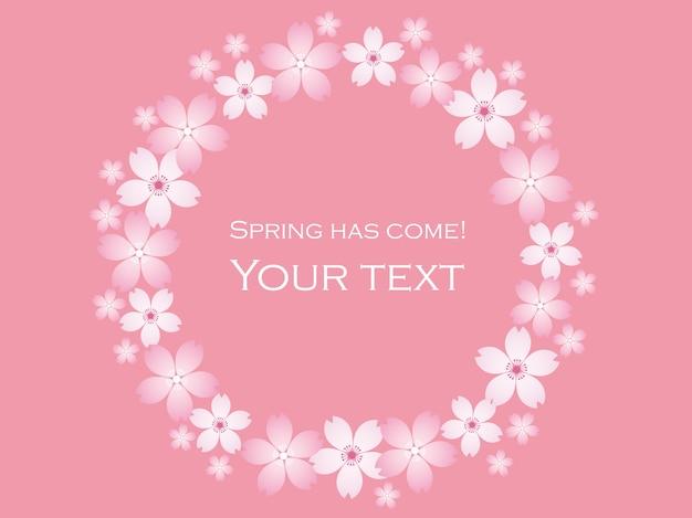 Streszczenie wiśni okrągłe ramki na białym tle na różowo