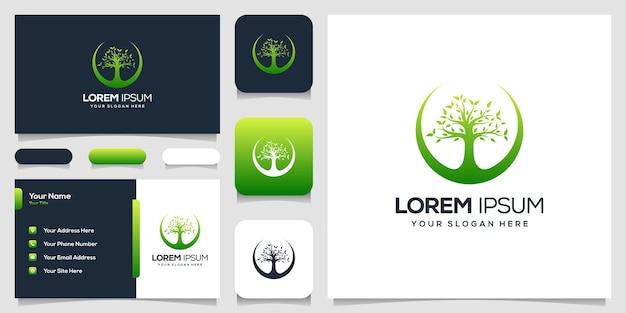 Streszczenie wizytówki szablon logo drzewo
