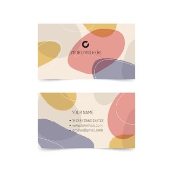 Streszczenie wizytówki szablon z pastelowymi kolorowymi plamami