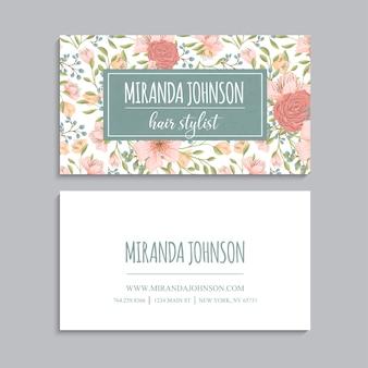 Streszczenie wizytówki szablon z różowe kwiaty