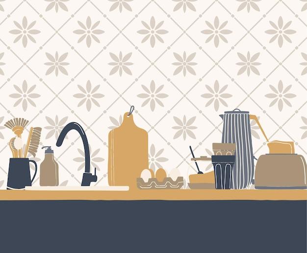 Streszczenie wnętrza kuchni z narzędziami
