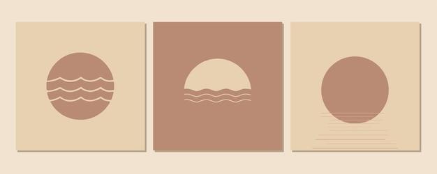 Streszczenie współczesnej estetyczne tła krajobrazy zestaw ze wschodem, zachodem słońca. odcienie ziemi, pastelowe kolory. dekoracja ścienna boho. nowoczesna minimalistyczna grafika z połowy wieku.