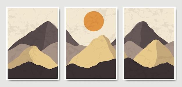 Streszczenie współczesnej kolekcji szablonów plakatów boho współczesnego krajobrazu w połowie wieku.