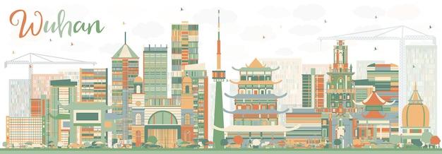 Streszczenie wuhan skyline z kolorowymi budynkami. ilustracja wektorowa. podróże służbowe i koncepcja turystyki z nowoczesną architekturą. obraz banera prezentacji i witryny sieci web.