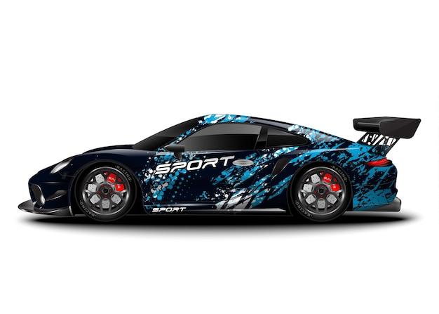 Streszczenie wyścigowy samochód sportowy do projektowania naklejek i malowania pojazdu