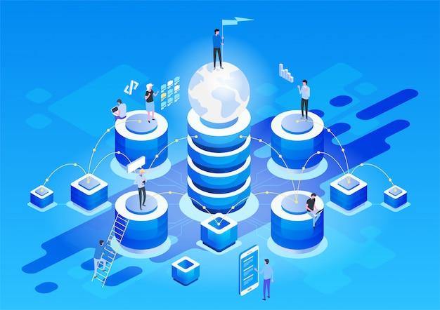 Streszczenie wysokiej technologii koncepcji. przechowywanie danych biznes w technologii chmury internetowej.