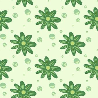 Streszczenie wzór z ornamentem streszczenie ozdobnych kwiatów. jasnozielone tło. płaski nadruk wektorowy na tekstylia, tkaniny, opakowania na prezenty, tapety. niekończąca się ilustracja.