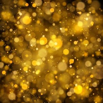 Streszczenie z efektem złota bokeh. cząsteczki kurzu.