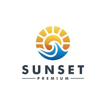 Streszczenie zachód słońca fala ocean logo szablon wektor ikona logotyp
