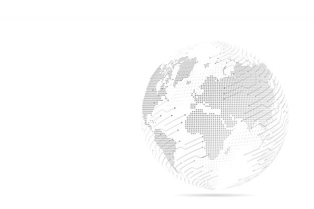 Streszczenie zacieru linii i punkt skale z kuli ziemskiej druciana siatka 3d wielokątna linia sieci, kula projektu, kropka i struktura.