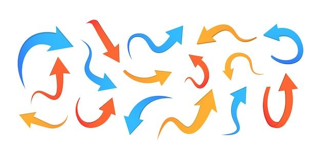 Streszczenie zakrzywione kolorowe strzałki wektor zestaw na białym tle. różne ikony strzałki ustawiają koło, w górę, kręcone, proste i skręcone. elementy wystroju.