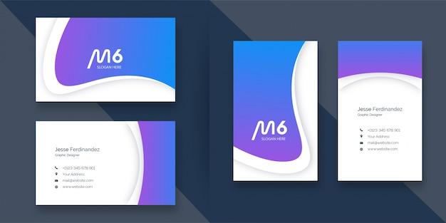 Streszczenie zakrzywiony kształt niebieski i fioletowy szablon wizytówki